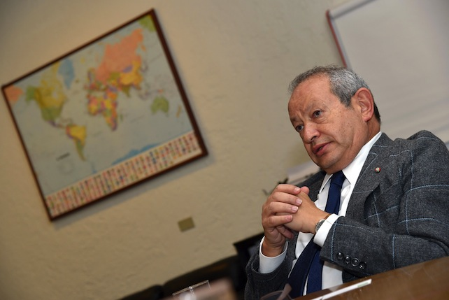 Il presidente del Consiglio di Amministrazione di Wind Telecomunicazioni S.p.A. Naguib Sawiris all'Ansa, Roma, 23 febbraio 2015. ANSA/ETTORE FERRARI