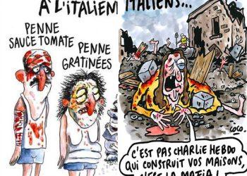 Nella combo le due vignette dedicate al terremoto in Italia pubblicate da Charlie Hebdo, Parigi, 2 Settembre 2016. ajkahnaahan