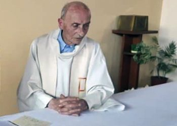 This July 23, 2016 mobile phone image released by Cindy Aubree shows French Priest Jacques Hamel.  Priest Jacques Hamel was killed on Tuesday, July 26 when two attackers slit the throat of the priest who was celebrating Mass Saint-Etienne-du-Rouvray, in France, killing him and gravely injured another of the handful of church-goers present before being shot to death by police. The Islamic State group claimed responsibility for the first attack in a church in the West. ( Cindy Aubree via AP) [CopyrightNotice: Copyright 2016 The Associated Press. All rights reserved. This material may not be published, broadcast, rewritten or redistribu]