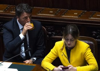 Italy's Prime Minister, Matteo Renzi, and Minister for Constitutional Reform, Maria Elena Boschi, at the Italian Parliament prior to go to European Council in Brussels. Rome, 27 Jun 2016. ANSA/CLAUDIO PERI