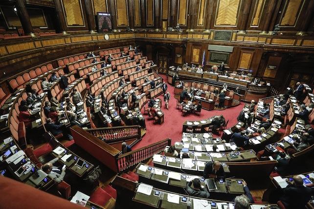 Una veduta dell'Aula di Palazzo Madama durante le dichiarazioni di voto al ddl sull'equilibrio di bilancio di Regioni ed Enti locali, Roma, 13 luglio 2016. ANSA/GIUSEPPE LAMI