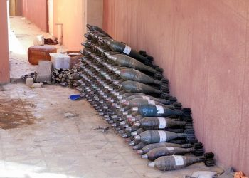 Iraq Nineve area  Qaraqosh Bakhdida mortars, weapons before a local house, 8-11-2016
