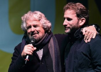 M5S leader Beppe Grillo (L) with Davide Casaleggio during the demonstration staged by the anti-establishment Five-Star Movement (M5S) to support 'No' at in the 04 December Constitutional reform referendum, in Turin, Italy, 02 December 2016. The crucial referendum is considered by the government to end gridlock and make passing legislation cheaper by, among other things, turning the Senate into a leaner body made up of regional representatives with fewer lawmaking powers. It would also do away with the equal powers between the Upper and Lower Houses of parliament - an unusual system that has been blamed for decades of political gridlock. ANSA/ALESSANDRO DI MARCO