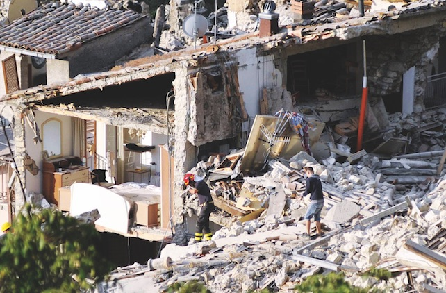 The rubble in Pescara del Tronto, near Arquata del Tronto, Ascoli Piceno, in Marche Region, 24 August 2016. A 6.1 earthquake struck just after 3:30 a.m.. The quake was felt across a broad section of central Italy, including the capital Rome where people in homes in the historic center felt a long swaying followed by aftershocks. ANSA/ CRISTIANO CHIODI