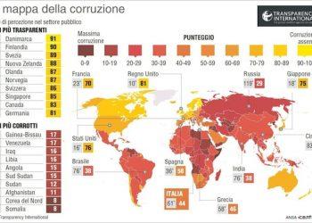 L'infografica realizzata da Centimetri della mappa della corruzione nel mondo secondo il rapporto annuale di Transparency International. Roma, 27 gennaio 2016. ANSA/ CENTIMETRI
