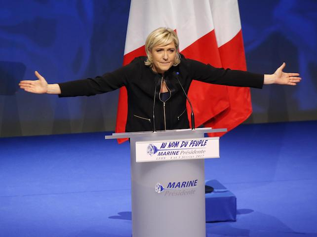 Marine Le Pen. (ANSA/AP Photo/Michel Euler) [CopyrightNotice: Copyright 2017 The Associated Press. All rights reserved.]
