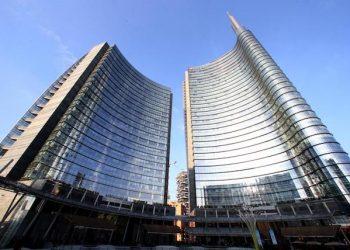 Il palazzo Hall Unicredit in piazza Gae Aulenti, inaugurato oggi alla presenza del presidente del Consiglio Enrico Letta, Milano, 11 febbraio 2014. ANSA / MATTEO BAZZI