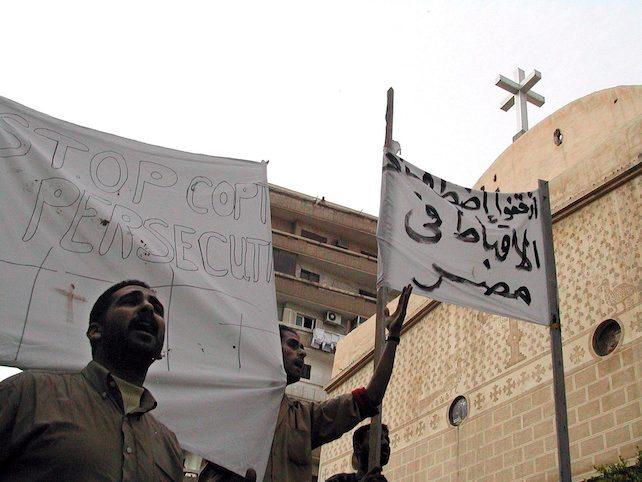 Una manifestazione ad Alessandria contro la persecuzione dei copti in Egitto
