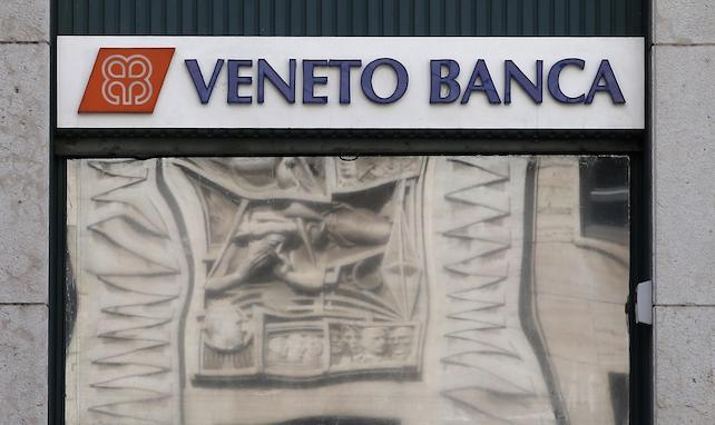 A view of a ' Veneto Banca ' bank branch in in Milan, Italy, Tuesday, Aug. 2, 2016. Italian financial police have arrested the former CEO of Veneto Banca and seized millions in cash, shares and property as part of a wide-ranging investigation. Police said Tuesday that prosecutors in Rome are investigating allegations of market rigging and interfering with regulatory authorities dating from 2013-2014. The regional lender's former CEO, Vincenzo Consoli, has been placed under house arrest. (ANSA/AP Photo/Antonio Calanni) [CopyrightNotice: Copyright 2016 The Associated Press. All rights reserved. This material may not be published, broadcast, rewritten or redistribu]