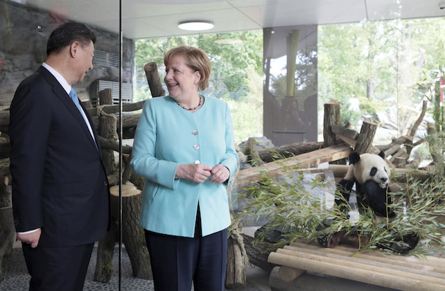 German Chancellor Angela Merkel and Chinese President Xi Jinping, left, attend a welcome ceremony for Chinese panda bears Meng Meng and Jiao Qing at the Zoo in Berlin, Germany, Wednesday, July 5, 2017. (Axel Schmidt/pool photo via AP)