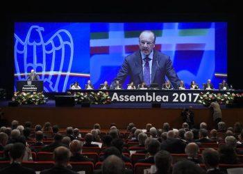 Il presidente di Confindustria Vincenzo Boccia durante l'Assemblea di Confindustria a Roma, 24 maggio 2017. ANSA / LUIGI MISTRULLI