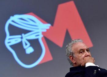 Il conduttore televisivo Michele Santoro durante la presentazione del programma ''M'' in onda su Raidue, Roma, 14 giugno 2017.   ANSA / ETTORE FERRARI