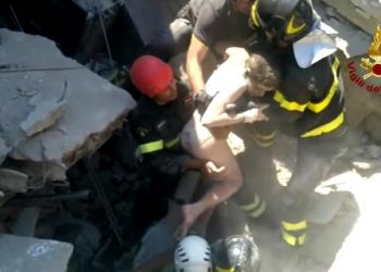 This grab provided by vigili del fuoco video shows eleven-year-old Ciro, saved by rescuers in the ruins of his house that collapsed at Casamicciola, Ischia, Italy, 22 August 2017. A 4.0 magnitude earthquake hit Ischia island on 21 August, killing two people and injuring 39.  ANSA/VIGILI DEL FUOCO EDITORIAL USE ONLY