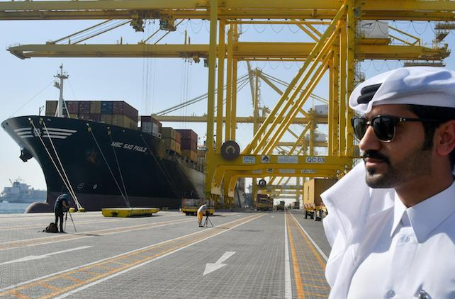 Containers unloading at the Hamad port Doha-Qatar