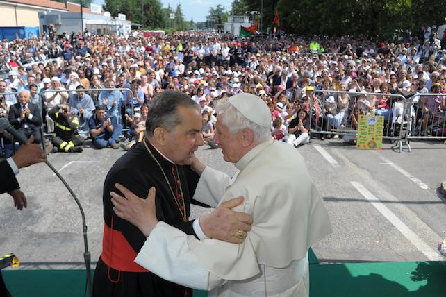 EARTHQUAKE: POPE BENEDICT XVI DURING HIS VISIT IN ROVERETO (MODENA)