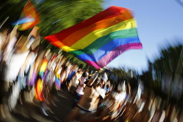 epa06060415 People participate in the rally to celebrate the 2017 World Pride in Madrid, Spain, 01 July 2017. Madrid hosts one of the most important worldwide events for the Lesbian, Gay, Bisexual, Transgender (LGBT) community from 23 June to 02 July.  EPA/J.P. Gandul