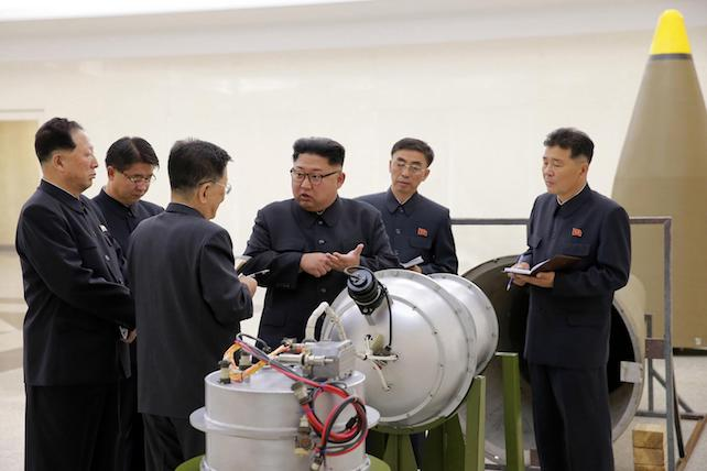 In this undated image distributed on Sunday, Sept. 3, 2017, by the North Korean government, shows North Korean leader Kim Jong Un at an undisclosed location. North Koreas state media on Sunday, Sept 3, 2017, said leader Kim Jong Un inspected the loading of a hydrogen bomb into a new intercontinental ballistic missile, a claim to technological mastery that some outside experts will doubt but that will raise already high worries on the Korean Peninsula. Independent journalists were not given access to cover the event depicted in this image distributed by the North Korean government. The content of this image is as provided and cannot be independently verified. (Korean Central News Agency/Korea News Service via AP) [CopyrightNotice: KCNA via KNS]