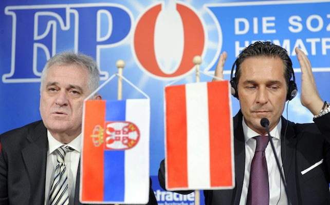 The head of the Serbian Progressive Party (SNS), Tomislav Nikolic (left) and the head of Austrias right wing Freedom Party (FPOE), Heinz Christian Strache during a press conference on 15. June 2011 in Vienna, Austria.  EPA/ROLAND SCHLAGER