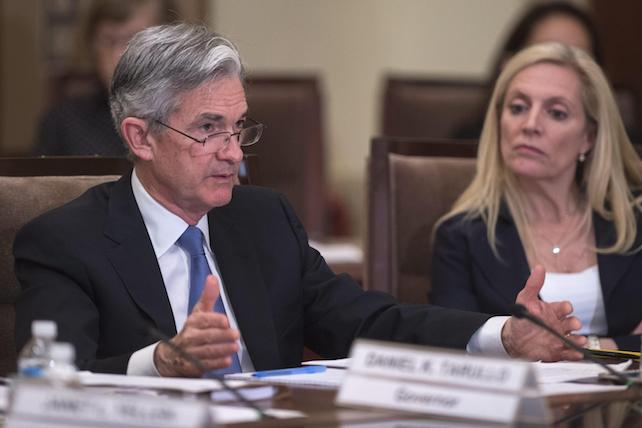epa05288805 Governors of the Federal Reserve Jerome Powell (L) and Lael Brainard (R) participate in a meeting 'to discuss a proposed rule to establish the Net Stable Funding Ratio, as well as a proposed rule establishing restrictions on qualified financial contracts of systemically important banking organizations.'  at the Federal Reserve in Washington, DC, USA, 03 May 2016.  EPA/SHAWN THEW