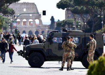Misure di sicurezza nel centro di Roma, 25 marzo 2018. ANSA / ETTORE FERRARI