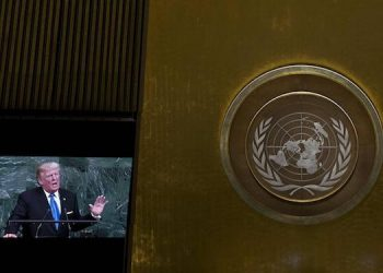 epa06213917 US President Donald J. Trump speaks during the opening session of the General Debate of the 72nd United Nations General Assembly at UN headquarters in New York, New York, USA, 19 September  2017.  The annual gathering of world leaders formally opens 19 September 2017, with the theme, 'Focusing on People: Striving for Peace and a Decent Life for All on a Sustainable Planet.'  EPA/JUSTIN LANE