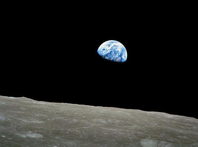 epa04000723 A handout picture released by NASA on 25 December 2013 shows a view of planet Earth seen from the Moon, at space, 24 December 1968. The Apollo Eight crew flew from Earth to the Moon and back again. Frank Borman, James Lovell, and William Anders were launched atop a Saturn V rocket on 21 December 1968, circled the Moon ten times in their command module, and returned to Earth on 27 December 1968. The Apollo Eight mission's impressive list of firsts includes: the first humans to journey to the Earth's Moon, the first to fly using the Saturn V rocket, and the first to photograph the Earth from deep space. As the Apollo Eight command module rounded the far side of the Moon on 24 December 1968, the crew could look toward the lunar horizon and see the Earth appear to rise, due to their spacecraft's orbital motion. Their famous picture of a distant blue Earth above the Moon's limb was a marvelous gift to the world.  EPA/NASA  HANDOUT EDITORIAL USE ONLY