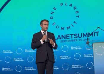 epa07049785 French President Emmanuel Macron speaks during the One Planet Summit at the Bloomberg Global Business Forum in New York, New York, USA, 26 September 2018. Dozens of world leaders, gathered for the United Nations General Debate this week, and business leaders are gathering for the event, which was organized by Bloomberg Philanthropies, to discuss economic and trade issues, globalization, innovation, and competition.  EPA/JOHN TAGGART