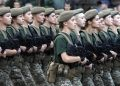 epa06960799 Female servicemen of Ukrainian army attend a rehearsal of military parade in downtown Kiev, Ukraine, 20 August 2018. Soldiers took part in rehearsal for the military parade which will be held to mark the Independence Day of Ukraine on 24 August.  EPA/STEPAN FRANKO
