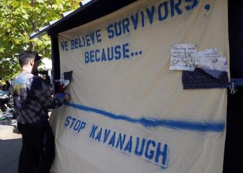 epa07052429 Students display a banner in support of survivors of sexual abuse and conduct on the campus of University of California Berkeley in Berkeley, California, USA, 27 September 2018 as coverage of the testimony by Christine Blasey Ford resumes before the Senate Judiciary Committee hearing on the nomination of Brett Kavanaugh to be an associate justice of the Supreme Court of the United States. US President Donald J. Trump's nominee to be a US Supreme Court associate justice Brett Kavanaugh is in a tumultuous confirmation process as multiple women have accused Kavanaugh of sexual misconduct.  EPA/JOHN G. MABANGLO