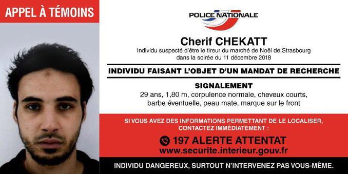 L'attentatore di Strasburgo Cherif Chekatt, foto segnaletica