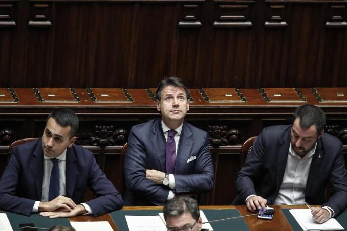 Di Maio, Conte e Salvini in aula a Montecitorio