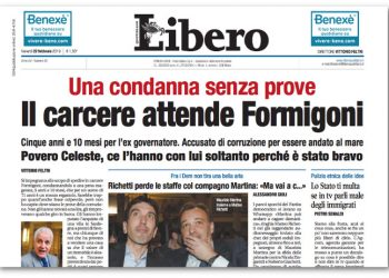 La prima pagina di Libero sulla condanna di Formigoni