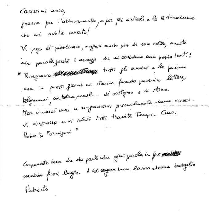 L'ex presidente della Regione Lombardia ci scrive da Bollate. «