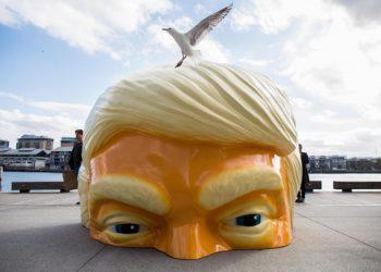 Una installazione che riproduce il volto (a metà) di Donald Trump