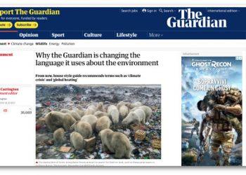 La pagina del Guardian sulle nuove linee guida per parlare di global warming