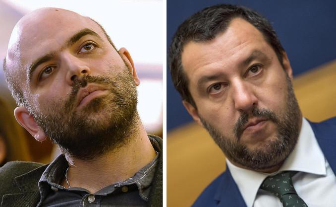 Fotomontaggio con Roberto Saviano e Matteo Salvini