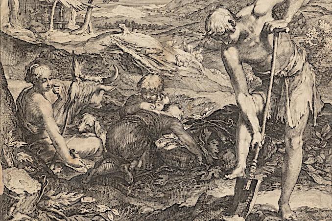 Adamo ed Eva al lavoro sulla terra