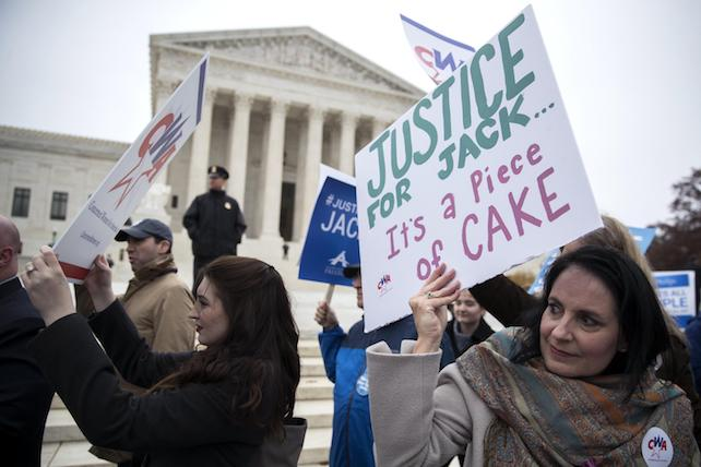 epa06369214 Protesters rally against Masterpiece Cakeshop owner Jack Phillips outside the Supreme Court in Washington DC, USA, 05 December 2017. In one of its most anticipated cases of the term, the Supreme Court started hearing oral arguments on whether the First Amendment protects a Colorado baker from creating a wedding cake for a same sex couple due to his religious beliefs. In 20152 a gay couple in Colorado asked Masterpiece Cakeshop to make them a wedding cake and the owner Jack Phillips refused because it was against his religious beliefs.  EPA/SHAWN THEW