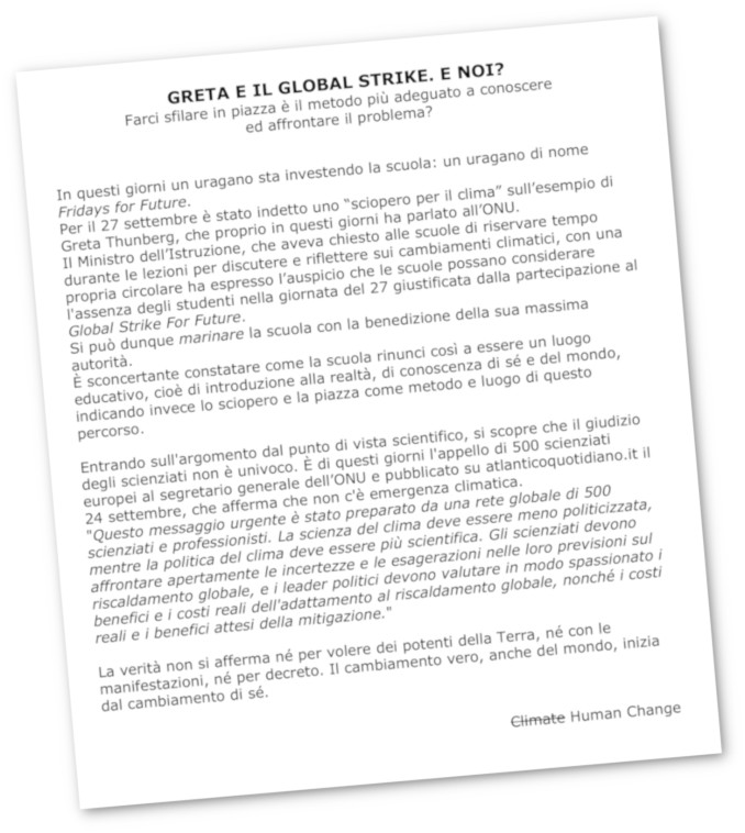 Il volantino di studenti e prof di Ferrara sullo sciopero scolastico per il clima