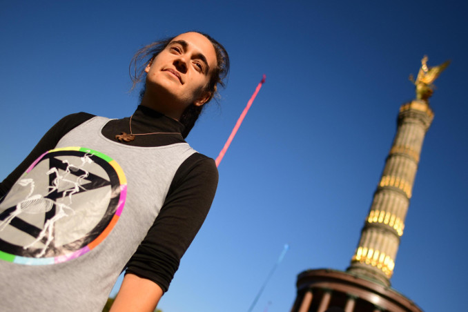Carola Rackete alla manifestazione di Extinction Rebellion a Berlino