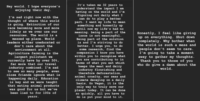 Appello vegano di Hamilton su Instagram
