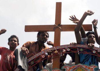 Protesta a Gojra nel 2009 contro la persecuzione dei cristiani pakistani