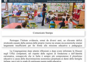 Annuncio di chiusura pubblicato sul sito dell'Istituto paritario Vittoria Colonna a Milano