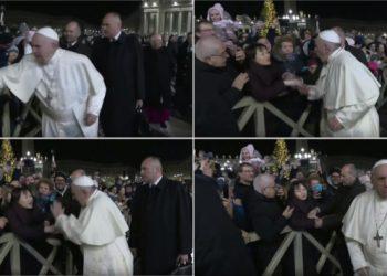 Papa Francesco strattonato da una fedele in piazza San Pietro