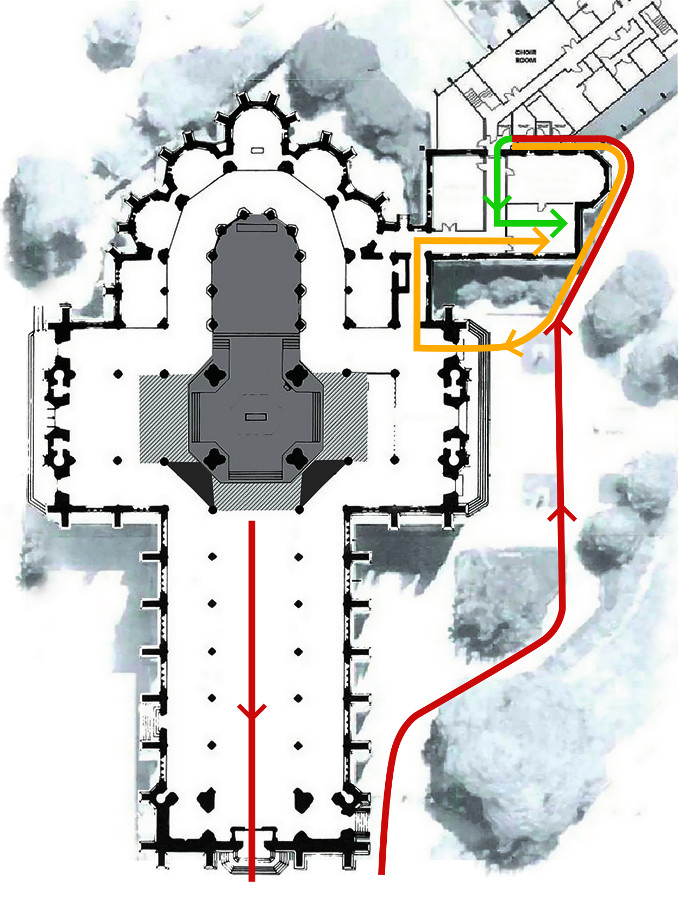 Mappa della cattedrale di Sydney con il percorso della processione durante la quale George Pell avrebbe commesso gli abusi secondo l'accusa