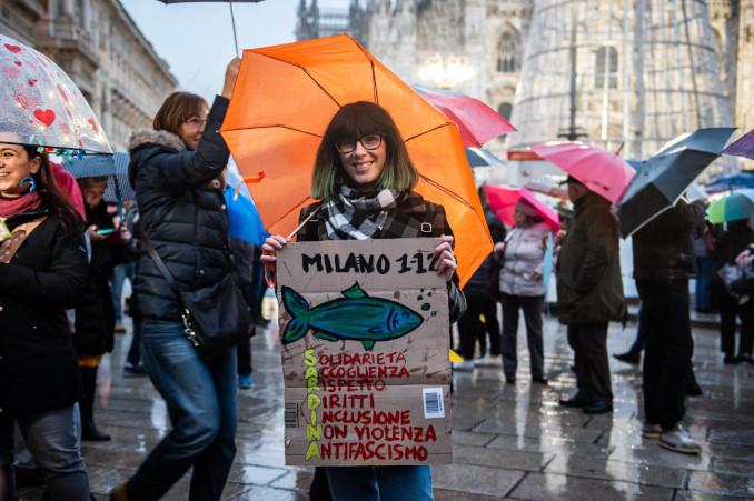 Manifestazione delle sardine a Milano