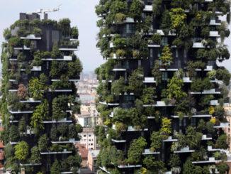 Veduta del Bosco verticale, grattacieli alberati progettati da Stefano Boeri a Milano