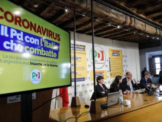Debora Serracchiani, Anna Ascani, Nicola Zingaretti, Andrea Orlando alla conferenza del Pd sull'emergenza coronavirus