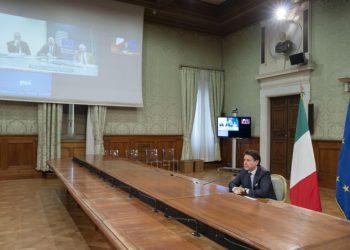 Video conferenza di Giuseppe Conte con i leader Ue sul coronavirus