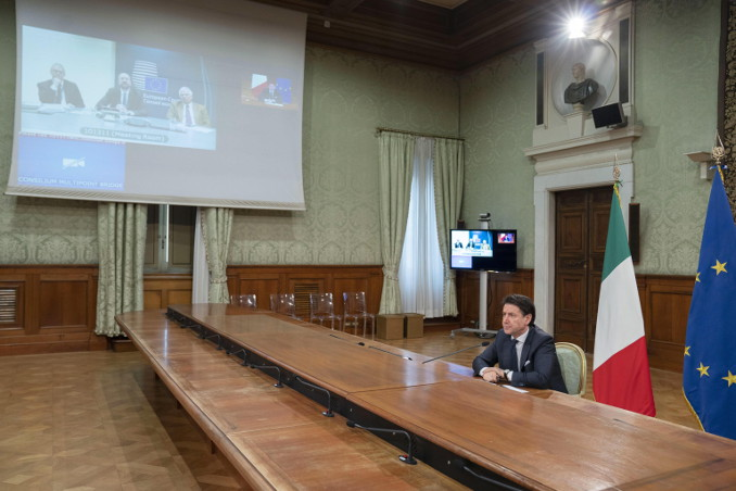 Video conferenza di Giuseppe Conte con i leader Ue sul coronavirus